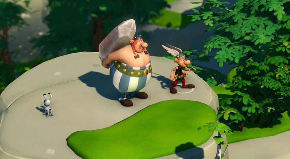 Astérix est accompagné d'Obélix qui porte le mystérieux Menhir.