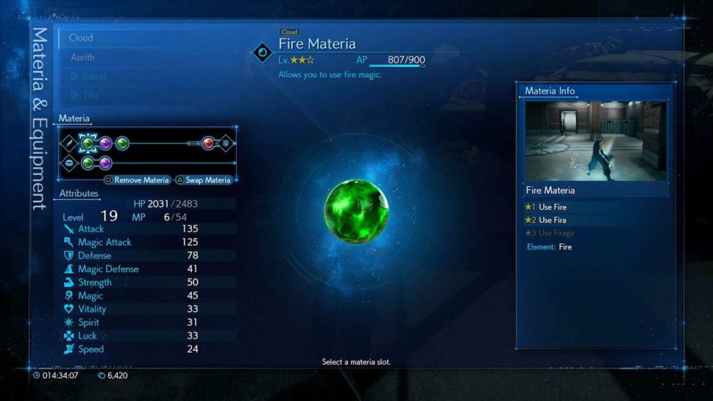 Materia élémentaire de feu