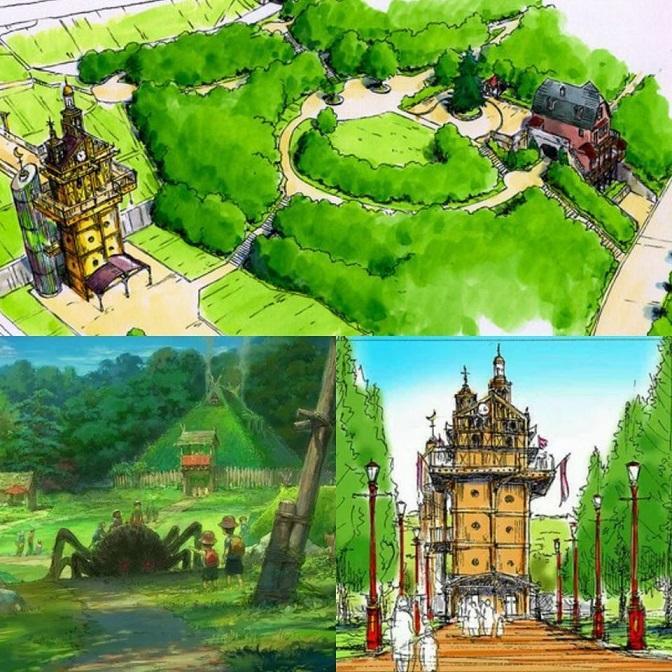 Plan du parc d'attraction sur le studio ghibli